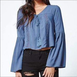 Kendall + Kylie Small Blue Crop Boho Bell Sleeves